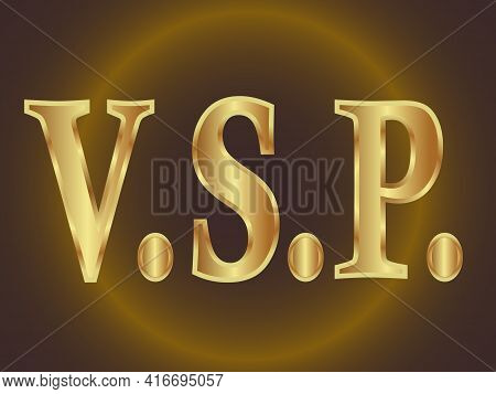 Abbreviation Of Three Letters V S And P Separated By Dots In Golden Tones On A Dark Background