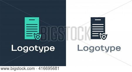 Logotype Firearms License Certificate Icon Isolated On White Background. Weapon Permit. Logo Design