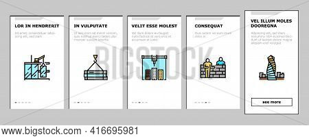 Building Construction Onboarding Mobile App Page Screen Vector. Excavation And Footing Reinforcement