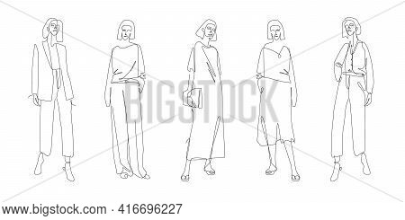One Line Fashion Clothing. Summer And Spring Clothes Collection Line Art Style. Outline Fashion Illu