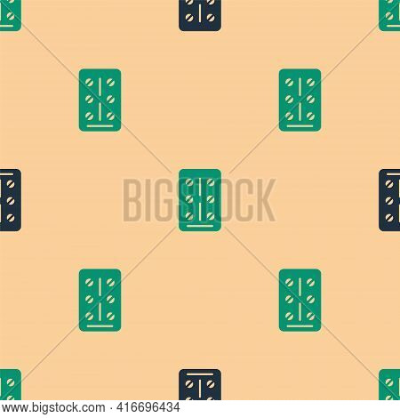 Green And Black Pills In Blister Pack Icon Isolated Seamless Pattern On Beige Background. Medical Dr