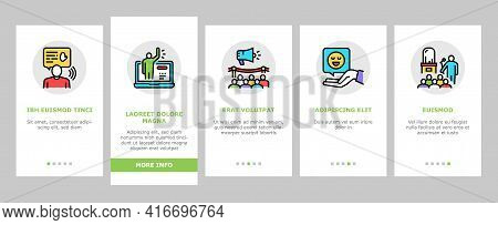 Introduction Speech Onboarding Mobile App Page Screen Vector. New Product And Business Case Presenta