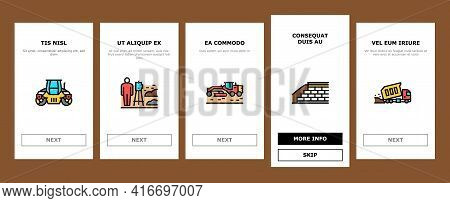 Road Construction Onboarding Mobile App Page Screen Vector. Gravel Crushed Stone Road And Asphalt, E
