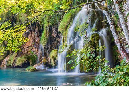 Plitvice Lakes, Croatia. Waterfalls Of Plitvice Lakes National Park.