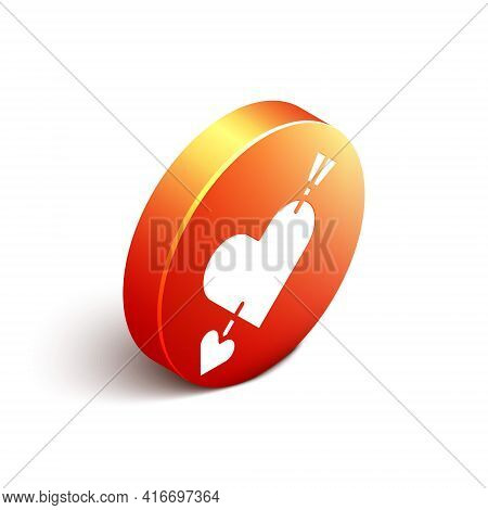 Isometric Amour Symbol With Heart And Arrow Icon Isolated On White Background. Love Sign. Valentines