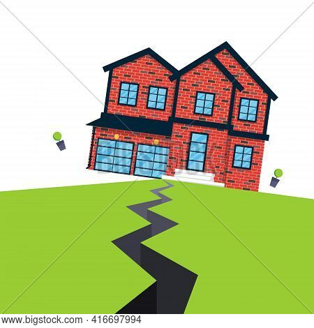 Earthquake House Insurance Concept Flat Style Vector Illustration. House Jumping From Earthquake And