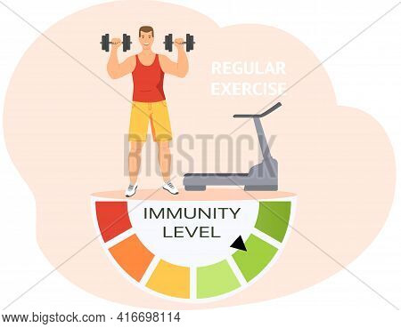 Immunity Level Increases Due To Sposts Activity. Male Character Doing Regular Daily Exercises
