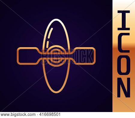 Gold Line Kayak And Paddle Icon Isolated On Black Background. Kayak And Canoe For Fishing And Touris