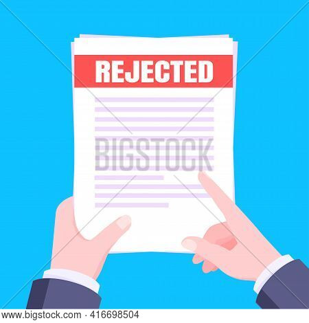 College Or University Reject Letter With Hands Hold Paper Sheets Document Email. Job Employment Offe
