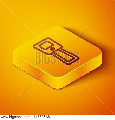 Isometric Line Digital Contactless Thermometer With Infrared Light Icon Isolated On Orange Backgroun