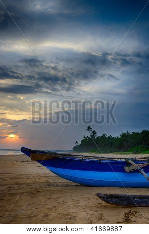 Fishing Boats On The Shore Of The Ocean