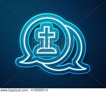 Glowing Neon Line Man Graves Funeral Sorrow Icon Isolated On Blue Background. The Emotion Of Grief,