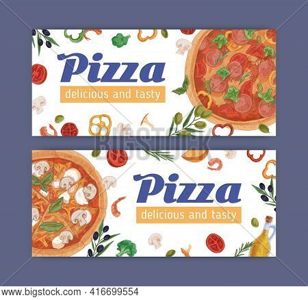 Ad Banner With Meat And Vegetarian Pizzas On White Background. Design Of Promo Templates For Pizzeri