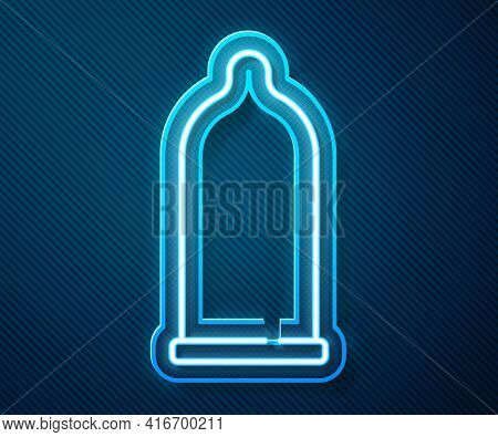 Glowing Neon Line Condom Safe Sex Icon Isolated On Blue Background. Safe Love Symbol. Contraceptive