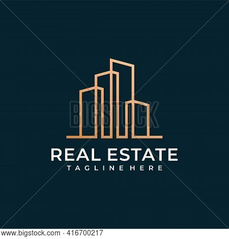 Creative Real Estate Construction Logo Design Vector Concept. Logo Can Be Used For Icon, Brand, Iden