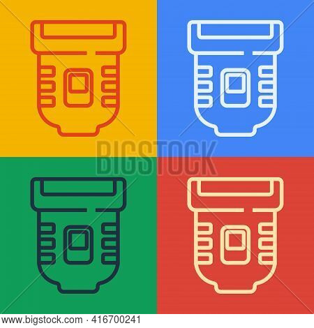 Pop Art Line Epilator Icon Isolated On Color Background. Depilation By Electric Razor. Hair Removal