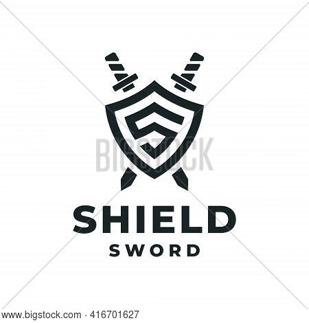 Shield Sword Initials Logo Design Vector Inspiration. Logo Can Be Used For Icon, Brand, Identity, Lu