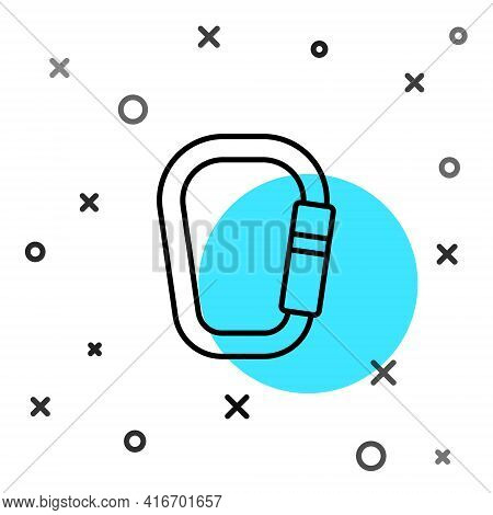 Black Line Carabiner Icon Isolated On White Background. Extreme Sport. Sport Equipment. Random Dynam