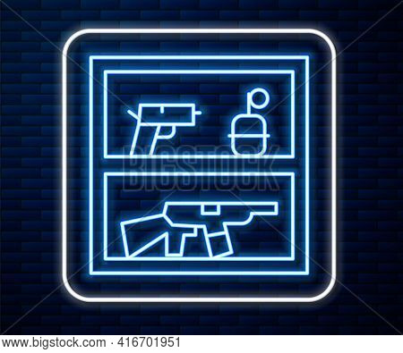 Glowing Neon Line Hunting Shop With Rifle And Gun Weapon Icon Isolated On Brick Wall Background. Sup