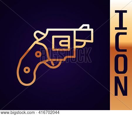 Gold Line Small Gun Revolver Icon Isolated On Black Background. Pocket Pistol For Self-defense. Ladi