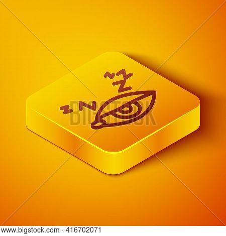 Isometric Line Insomnia Icon Isolated On Orange Background. Sleep Disorder With Capillaries And Pupi