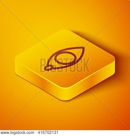 Isometric Line Blindness Icon Isolated On Orange Background. Blind Sign. Yellow Square Button. Vecto