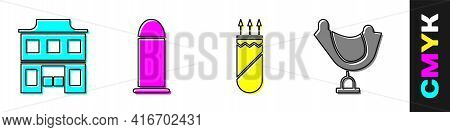 Set Wild West Saloon, Bullet, Quiver With Arrows And Wild West Saddle Icon. Vector
