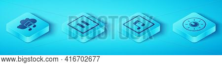 Set Isometric Music Streaming Service, Pause Button, Dial Knob Level Technology Settings And Music N
