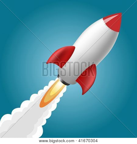 Rocket Space Ship, On Blue Background, Vector Illustration