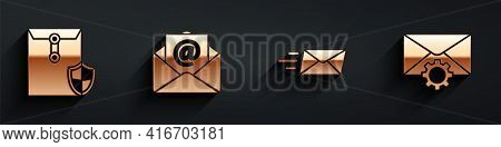 Set Envelope With Shield, Mail And E-mail, Express Envelope And Envelope Setting Icon With Long Shad