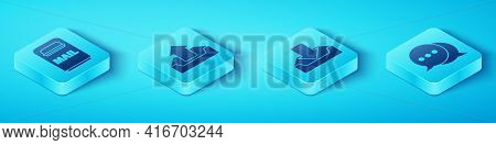 Set Isometric Mail Box, Upload Inbox, Speech Bubble Chat And Download Inbox Icon. Vector