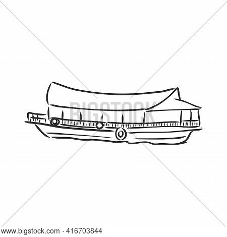 Long Tail Boat, Thailand Hand Drawn Vector Illustration. Travel Thailand Concept.