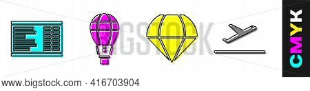 Set Airport Board, Hot Air Balloon, Parachute And Plane Takeoff Icon. Vector