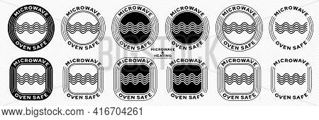 Microwaves Flat Linear Icons Set. Symbol For The Safety Of Using Cookware In A Microwave Oven. Label