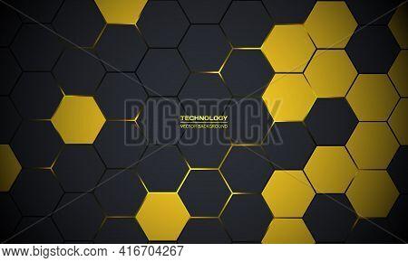 Dark Gray Hexagonal Technology Abstract Vector Background. Yellow Bright Energy Flashes Under Hexago