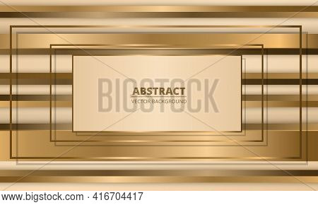 Golden Frames On Abstract Background With Gold Three Dimensional Shapes. Metallic Abstract Luxury Ve