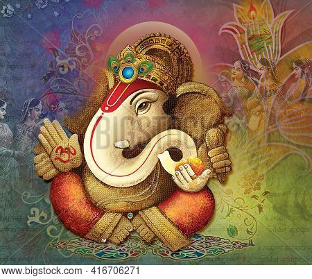 High Resolution Indian Gods Lord Ganesha Digital Painting