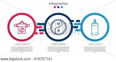 Set Line Yin Yang, Yin Yang And Firework. Business Infographic Template. Vector