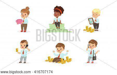 Cute Kids Millionaires Set, Rich Happy Little Children Having Lot Of Money, Savings, Finance, Richne