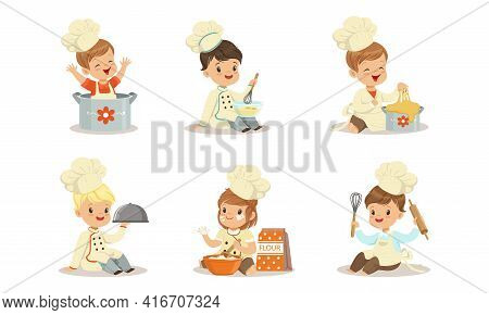 Cute Kids Chefs Characters Set, Adorable Little Children In Uniform And Chef Hat Cooking And Baking