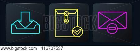 Set Line Download Inbox, Delete Envelope And Envelope And Check Mark. Black Square Button. Vector