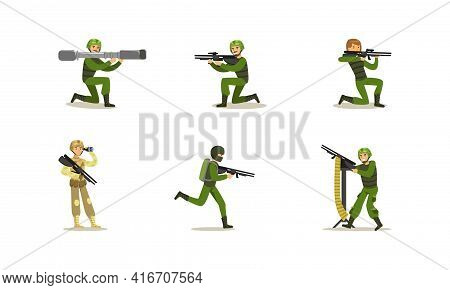 Military Army Soldiers Set, Men In Camouflage Military Clothing And Helmet With Weapon Cartoon Vecto