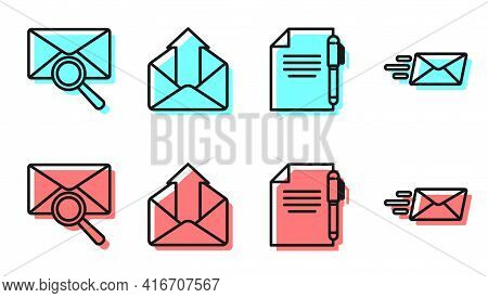 Set Line Document And Pen, Envelope With Magnifying Glass, Outgoing Mail And Express Envelope Icon.