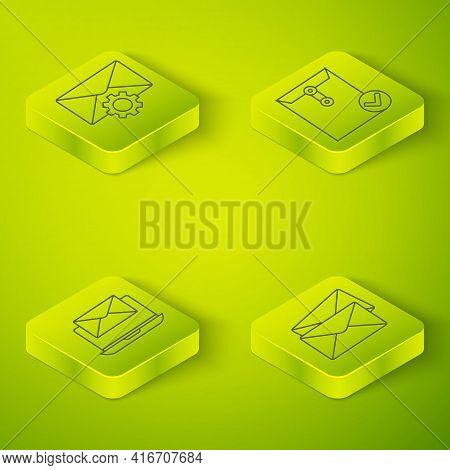 Set Isometric Envelope And Check Mark, Laptop With Envelope, Envelope And Envelope Setting Icon. Vec