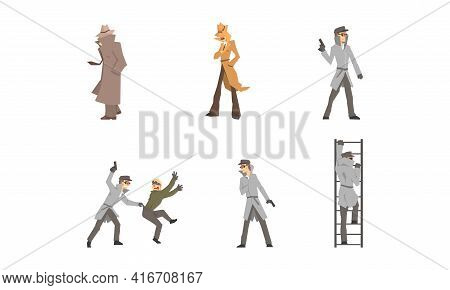 Private Detective Characters At Work Set. Police Inspector Investigating Crime And Arrested Criminal