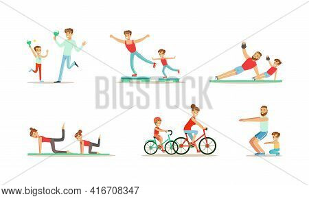 Parents And Their Kids Doing Sports Together Set, Families Playing Table Tennis, Riding Bicycles And