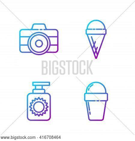 Set Line Ice Cream In Waffle Cone, Sunscreen Spray Bottle, Photo Camera And Ice Cream In Waffle Cone
