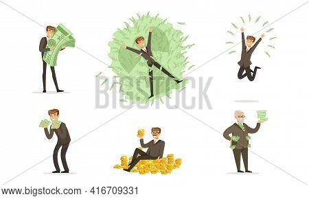 Happy Rich People Set, Wealthy Businessman Millionaires Counting And Bathing In Money Cartoon Vector