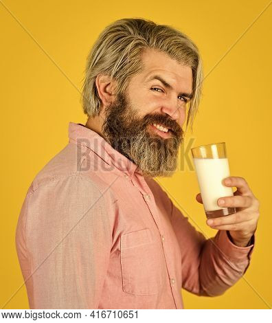 Source Of Calcium. Milk For Good Health. Lactose Free. Bearded Man Hold Glass Of Milk. Vegan Milk Co