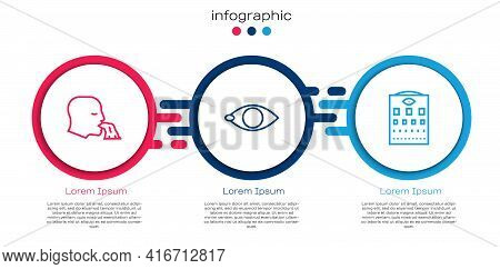 Set Line Vomiting Man, Blindness And Eye Test Chart. Business Infographic Template. Vector
